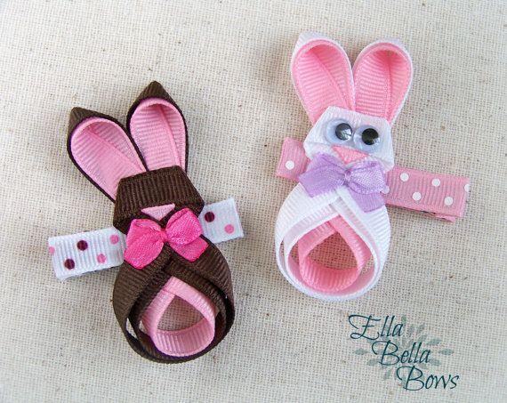 Conejito cinta escultura pelo Clip, arco del pelo de conejo, conejo de Pascua, Conejito de Chocolate