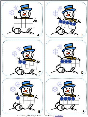 FREE Read the Room for math with this fun set of ten frames snowmen!