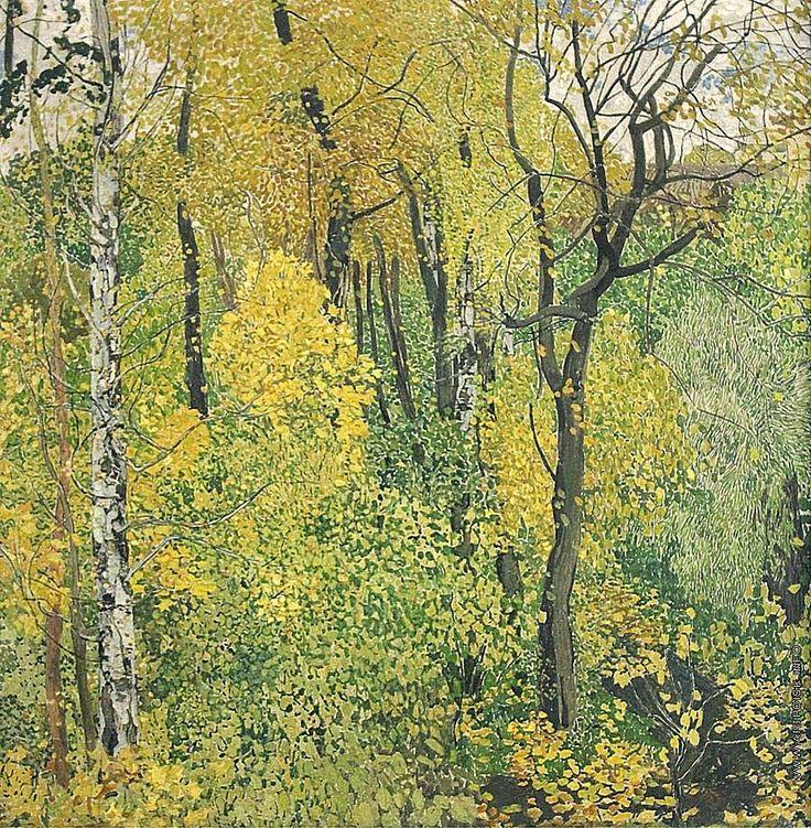 Alexander Golovin (1863 — 1930, Russia) View in the park. Landscape with blue pavilion. 1910 tempera on canvas, gouache. 178 × 169 cm. Александр Яковлевич Головин