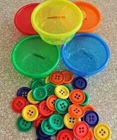 Preschool/Kindergarten: Color Match Use empty colored play dough tubs to sort buttons! Then count the buttons in each one. Correct amount is written on the bottom of each cup for self-check!