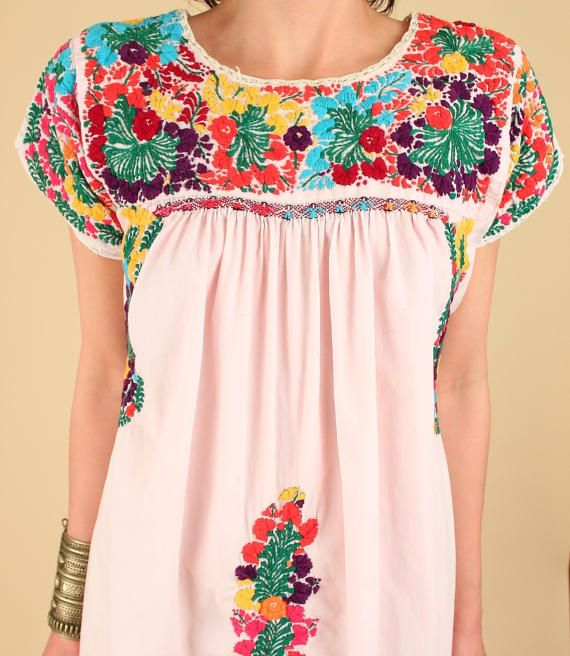 ViNtAgE Oaxaca mexikanisches Kleid 60er 70er Blumen Maxi ...