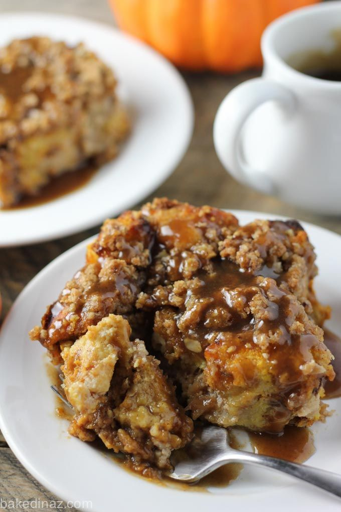 This overnight pumpkin cream cheese french toast is easy and a festive, delicious holiday breakfast or brunch. Topped with a streusel and caramel syrup!
