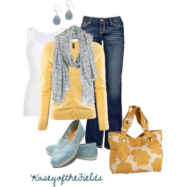 Amarillo mostaza y jeans, con bufanda de moda. 62
