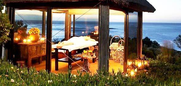 Beach spa gazebo view at Mount Nelson, Cape Town.