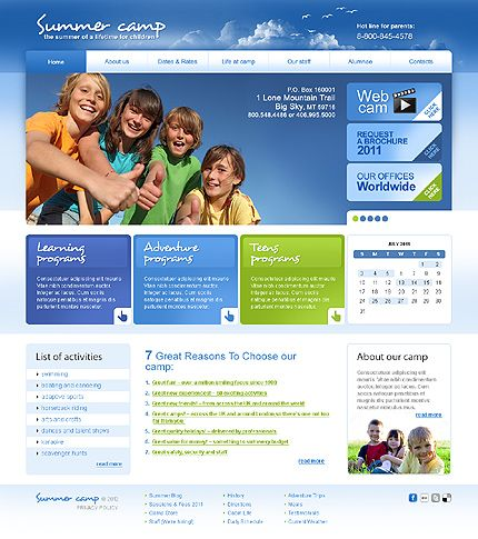 Summer Camp Website Templates by Glenn