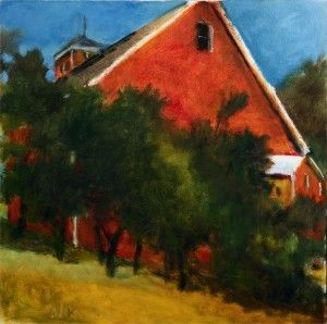 Wolf Kahn, Red Barn in New Hampshire, Seen from Below, 2009, oil on canvas, 28 x 28 inches