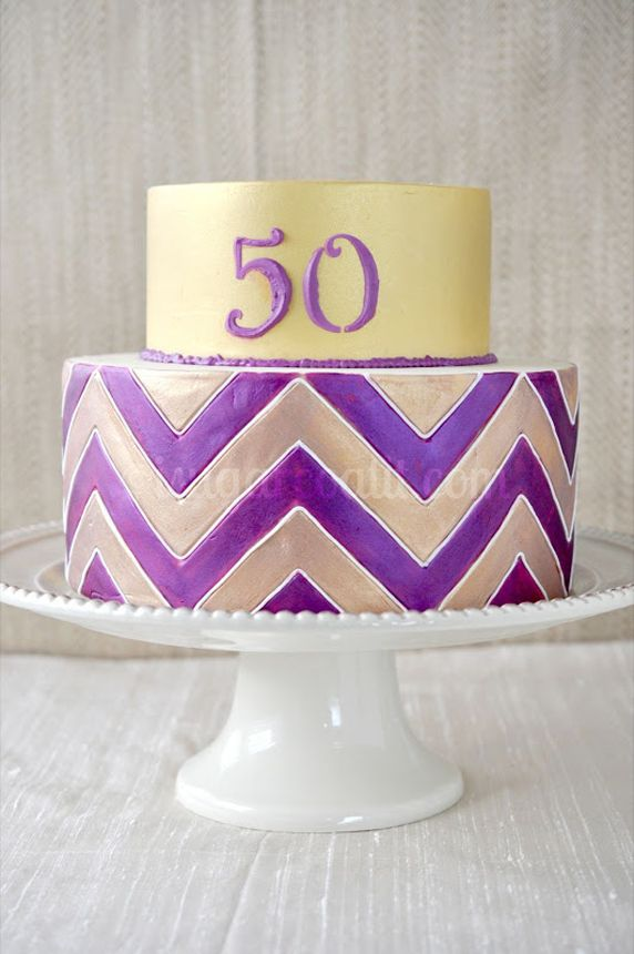 Purple Chevron 50th Birthday Cake Picture