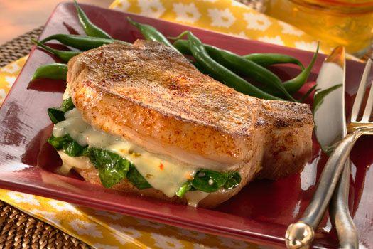 Garlic Spinach and Pepper Jack Cheese Stuffed Pork Chops