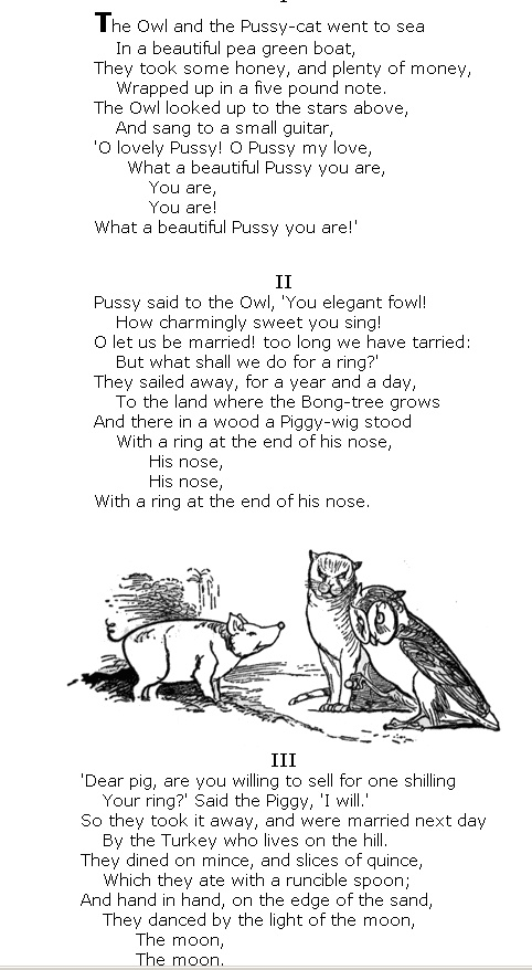 The Owl and the Pussycat.  Edward Lear #poetry http://annabelchaffer.com/