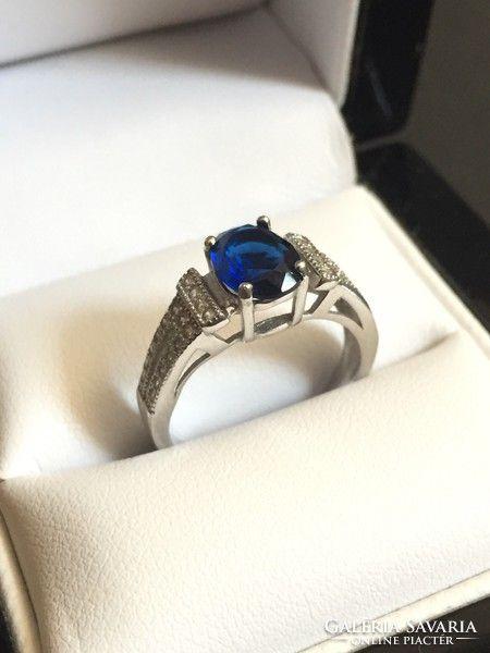 Ovális mélykék zafír köves ezüst gyűrű. Hibátlan!