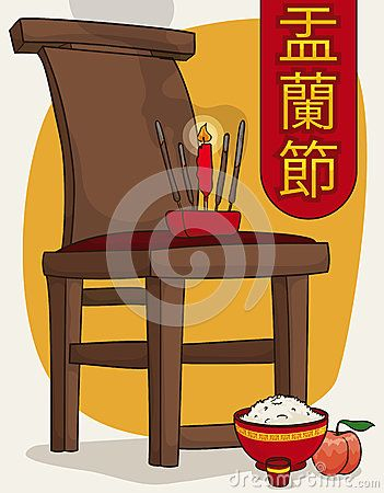 Poster with offerings in the favorite chair spot of the ancestor in Hungry Ghost…