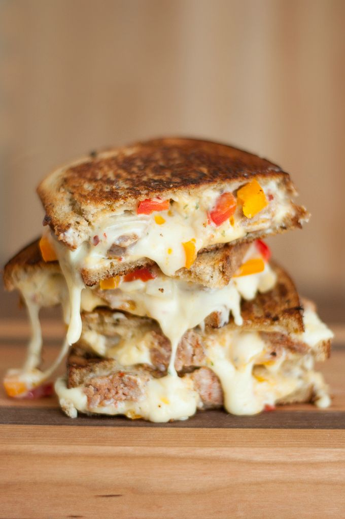 Sausage, Pepper, and Onion Chipotle Grilled Cheese :: Hellooooo delicious!
