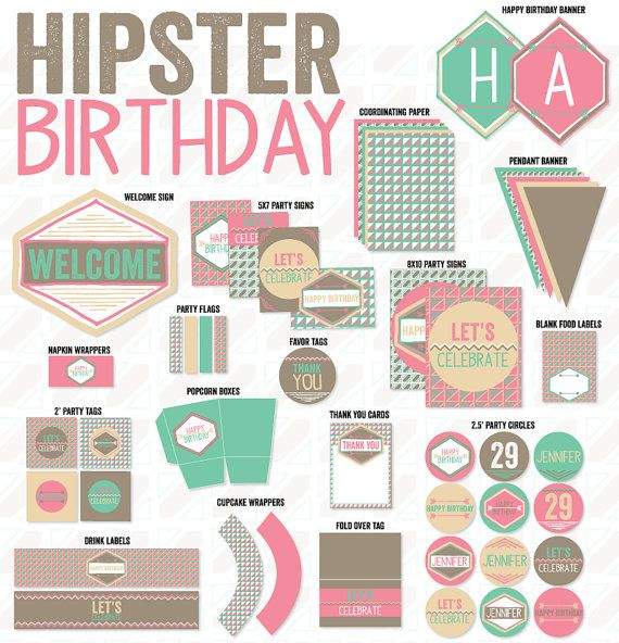 Hipster Party PRINTABLE Birthday by Love by lovetheday, $45.00