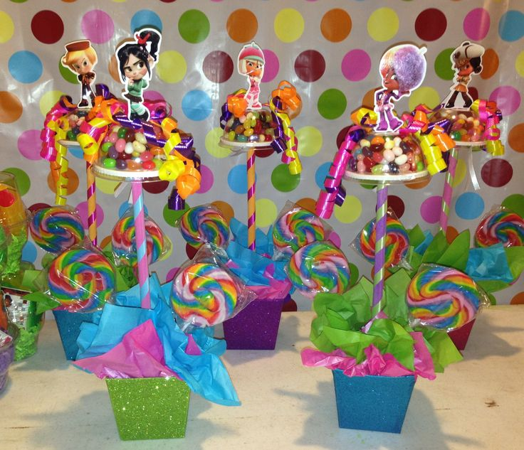 vanelloppe sugar rush party centerpieces    figurine toppers ordered from etsy  itzwhimzeycal