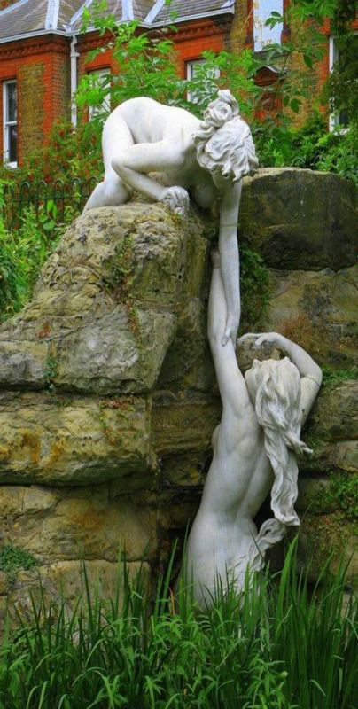 Water nymphs. These delightful statues were brought to England from Italy by Whitaker White in 1904 and are currently located at York House Gardens (Twickenham) alongside river Thames (South-West of London).