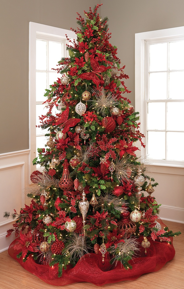 Christmas Tree ~ red glittering butterfly