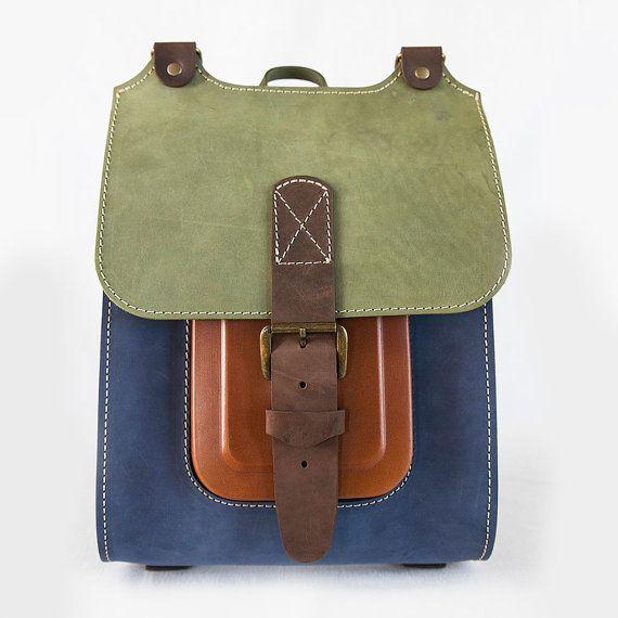 "Colorful Leather Backpack, Handmade rucksack 13"""