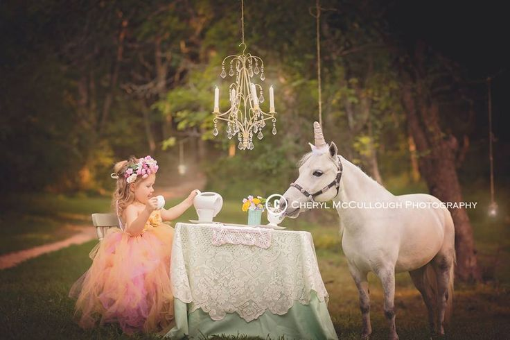 Unicorn fantasy teaparty child session with chandelier // #fantasyphotography by Cheryl McCullough