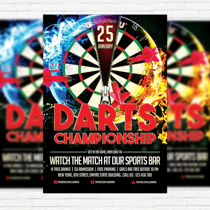 Darts Championship - Premium Flyer Template + Facebook Cover http://exclusiveflyer.net/product/darts-championship-premium-flyer-template-facebook-cover/
