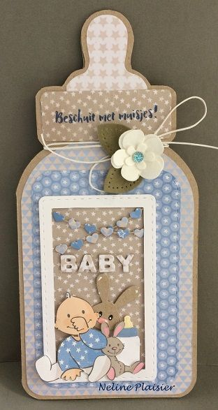 Handmade baby card by DT member Neline with Collectables Eline's Baby Essentials (COL1421), Eline's Baby Animals (COL1422), Flower Set (COL1323), Craftables Basic Stitch Passepartout Rectangle (CR1390) and Chains Dots & Hearts (CR1392) from Marianne Design