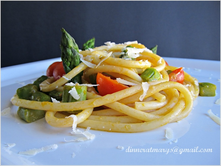 Pici with asparagus