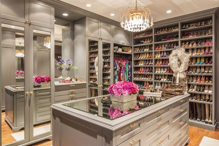dream closet | marks & frantz Shoe shelves, drawers, mirrored doors, accessories island