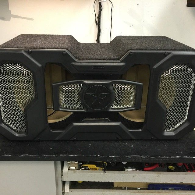 Display box done. Ready for subs alpine car audio fabrication custom sub enclosure 3d grills walled off