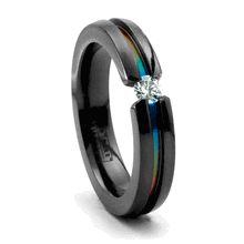 black with rainbow center recessed stripe gay diamond wedding ring - Gay Wedding Rings