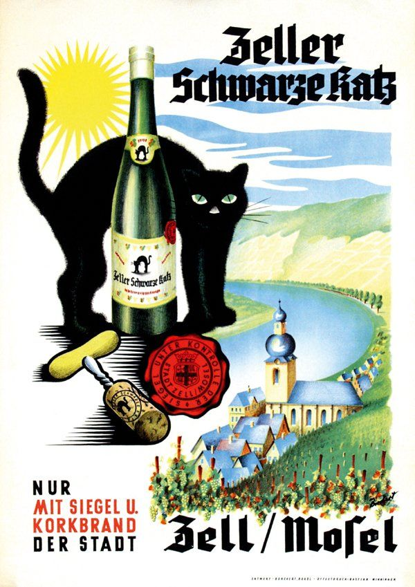 1950 - Zeller Schwarze Katz by Borchert. Ad for a nice German wine. My family has served it since we lived in Germany in the late 70s.