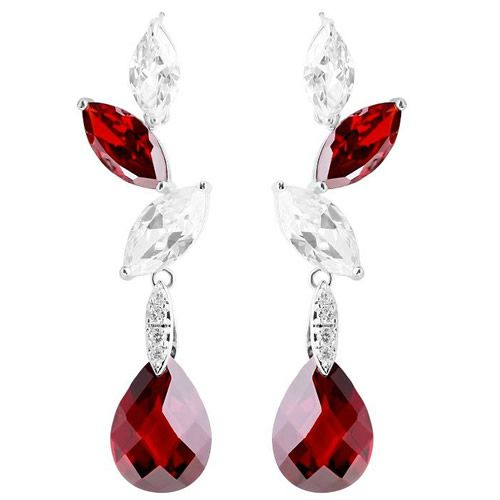Red Crystal Wedding Bridal Evening Jewelry Jewellery Teardrop Earrings SKU-10803153