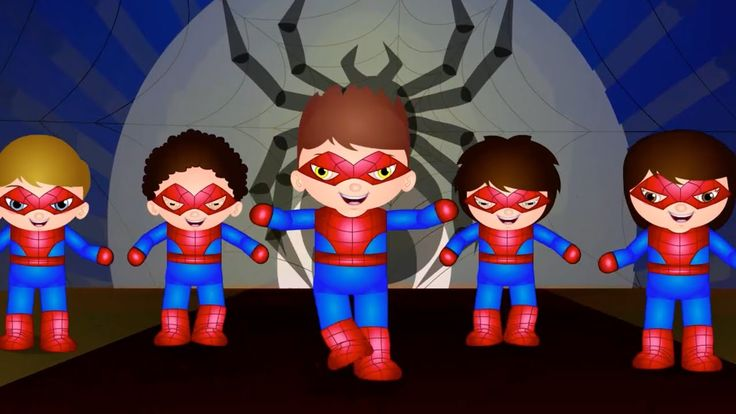Five Little Spider Man | Nursery Rhymes For Kids