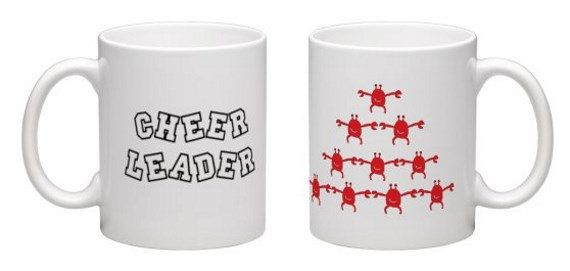 Cheerleader mug, funny cheerleader gift, crabby cheerleader, crab mug, seaside mug, funny birthday gift, by BeesMugShop on Etsy