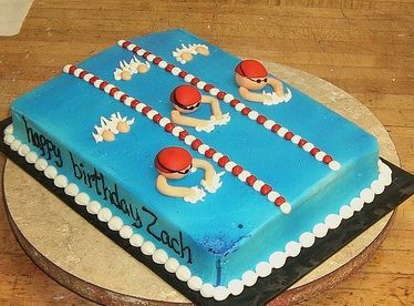 swimming cake by bluecakecompany, via Flickr....cool cake and it even has Zach's name on it!
