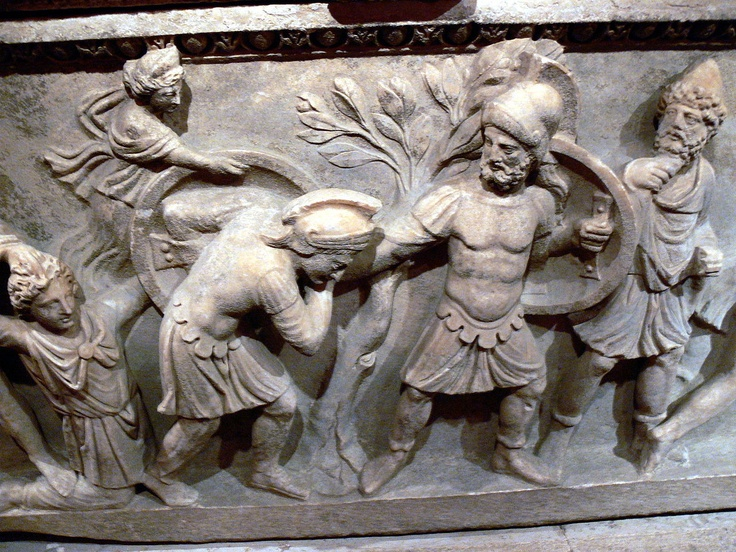 Antalya Archaeological Museum: Ancient Roman sarcophagus of Aurelia Botania Demetria ( 2nd century AD ): Aphrodite is concealing Paris who is defeated by Menelaos. Odysseus is looking at the scene.