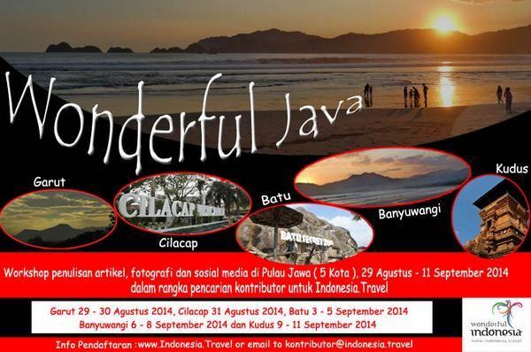 "Buat AgendaLovers yang Suka Traveling & punya kemampuan Menulis yang baik, kali ini Indonesi.Travel mengadakan acara ""Wonderful Java 2014"". Sebuah Workshop tentang Penulisan Artikel, fotografi & sosial media di Pulau jawa (5 Jota).   - Wonderful Java 2014 - Jum'at, 29 Agustus - Kamis,11 September 2014 - At 5 kota di pulau Jawa (Garut, Cilacap, Batu, Banyuwangi, Kudus)  Selengkapnya, http://agendakota.co.id/read/4407//wonderful-java-2014.html"