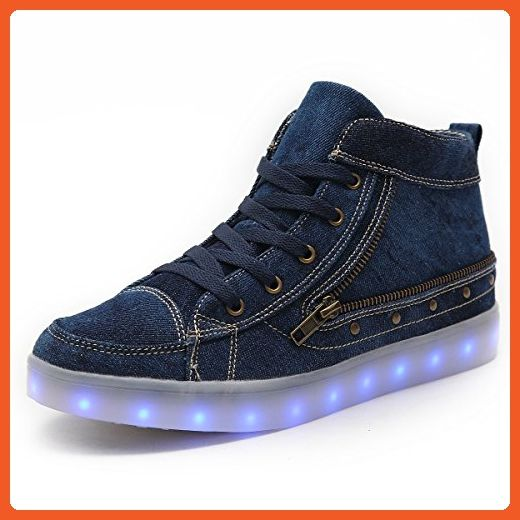 HUSKSWARE High Top Canvas Boots Multi-Color LED Lighting Shoes with USB Charging for Women - Sneakers for women (*Amazon Partner-Link)