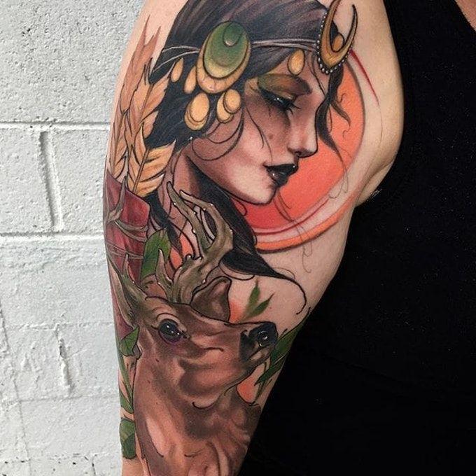 Artemis portrait tattoo by Matt Tischler. #MattTischler #neotraditional #portrait #woman #fierce #archery #archer #artemis #greek #goddess #deer