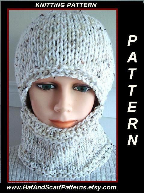 Balaclava Knitting Pattern Straight Needles : KNITTING PATTERN - hat, Easy Balaclava - or hat and cowl - Flat Knit - straig...