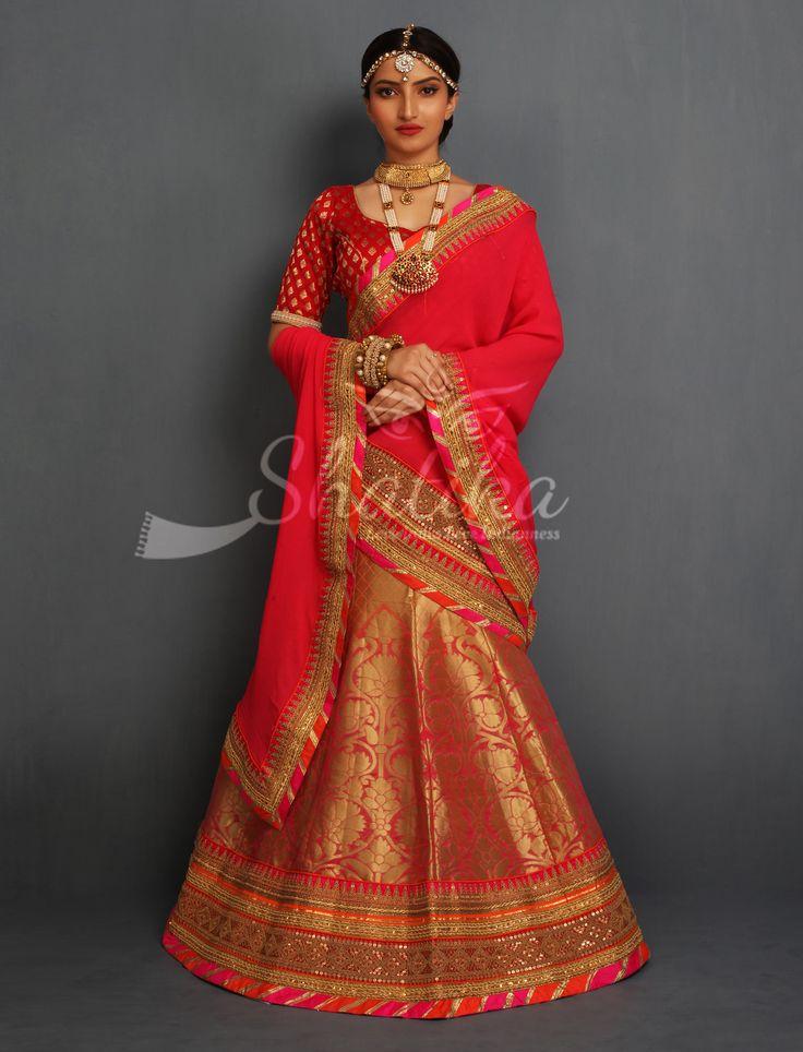 Richa Red Full Gold Brocade Ornate Heavy Work Border Designer Rajasthani Lehenga