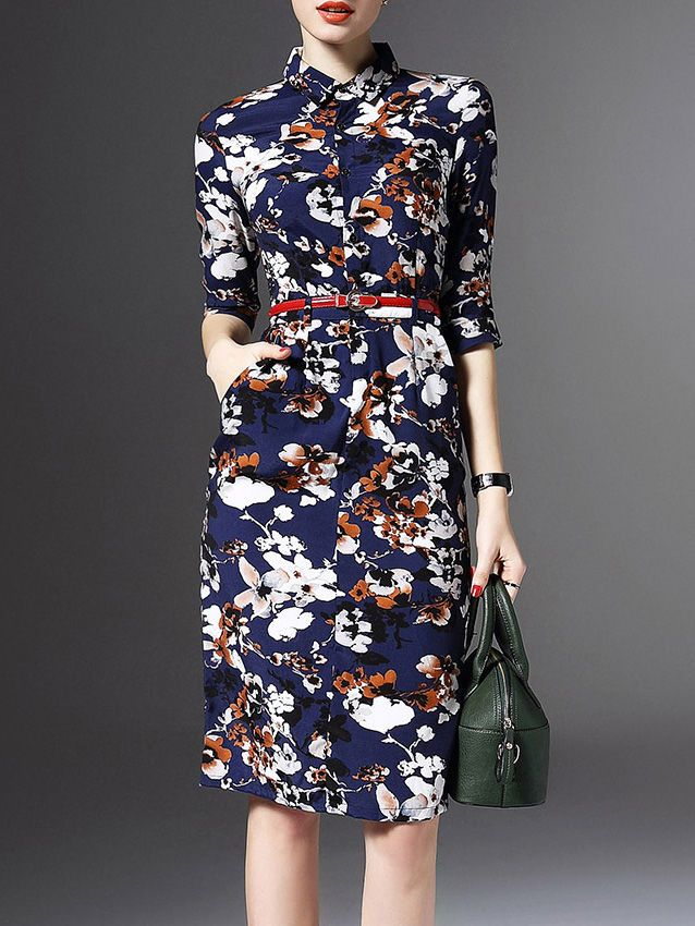 Sewing Inspiration: Mcall's 6892 or Mcall's 6696; Floral-print Midi Dress with Belt