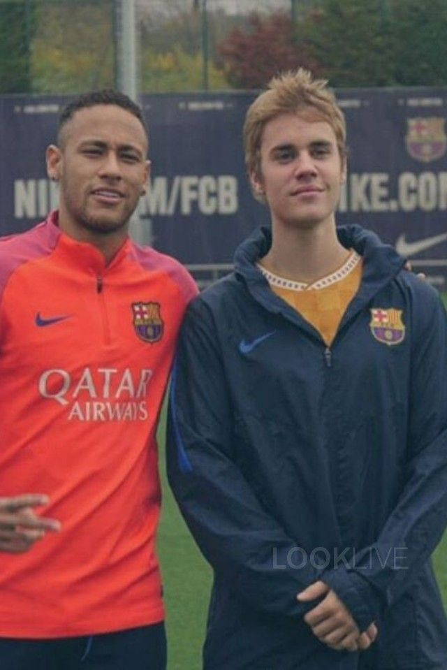 Justin Bieber wearing  Nike 2016-17 FC Barcelona Hooded Stadium Jacket, Supreme Checker Soccer Jersey