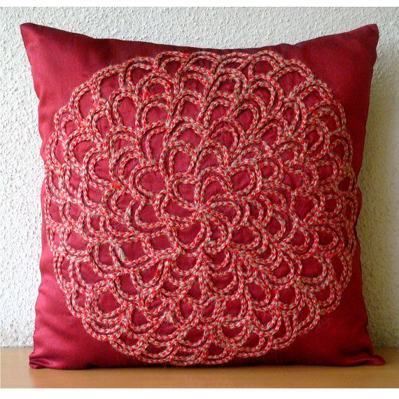 Luxury Deep Red Pillows Cover 16x16 Silk