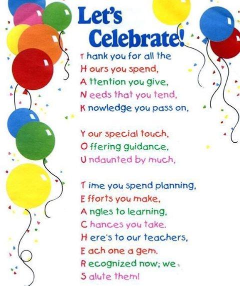 Celebrate teachers! #teacher #appreciation