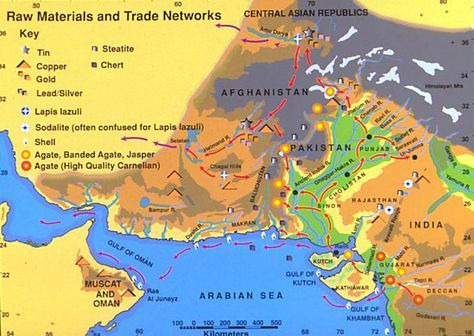 The Harappan trade routes showing how their wealth of resources was traded along rivers and eventually into the Arabian Sea and beyond.