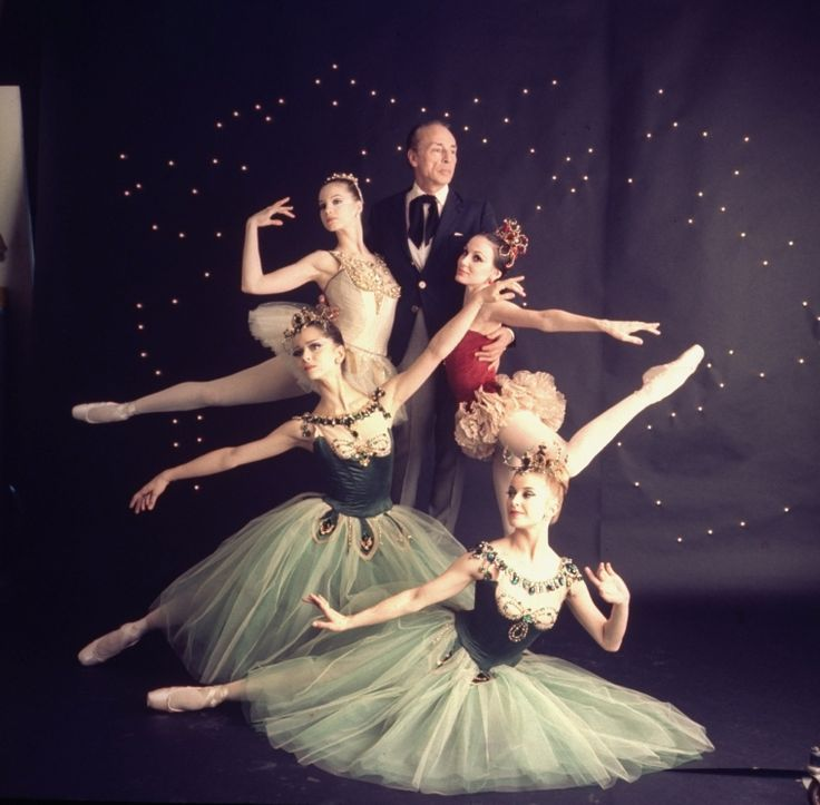 "New York City Ballet - Studio photo of (front L-R) Violette Verdy and Mimi Paul, Patricia McBride in red, George Balanchine and Suzanne Farrell in white, in ""Jewels"", choreography by George Balanchine (New York)"