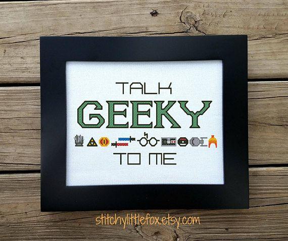 Geek Cross Stitch Funny Geek Talk Nerdy To Me Gamer