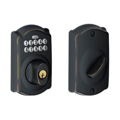 front door lock Schlage Camelot Aged Bronze Keypad Deadbolt-BE365 CAM 716 at The Home Depot
