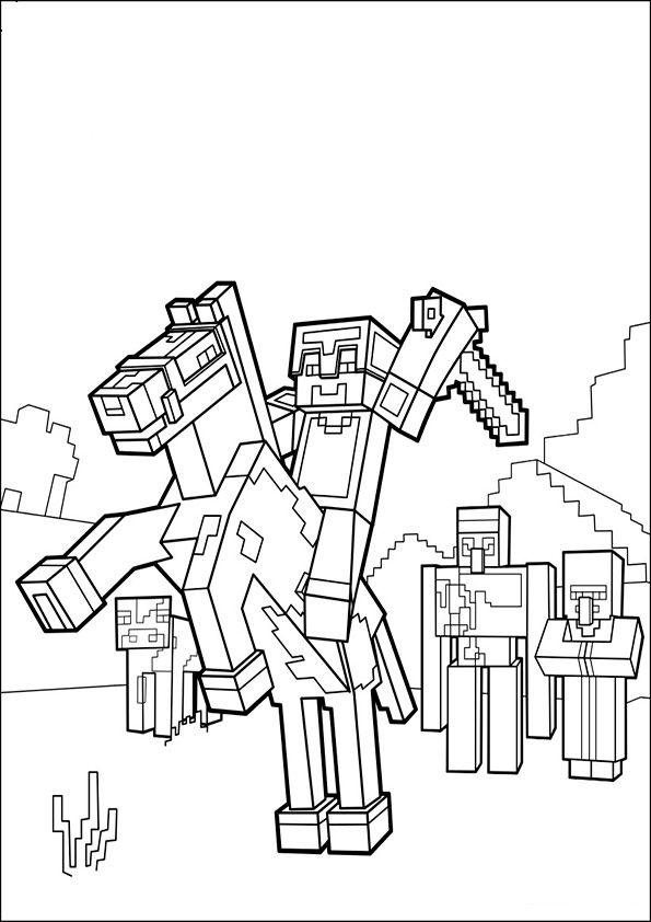 ausmalbilder minecraft 8   Minecraft coloring pages, Horse ...