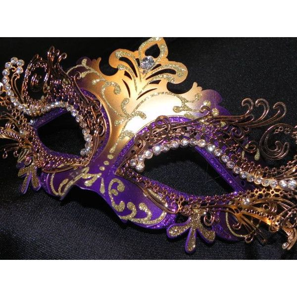 purple and gold metallic capri masquerade mask 95 liked on polyvore featuring costumes masquerade halloween - Halloween Costumes With A Masquerade Mask