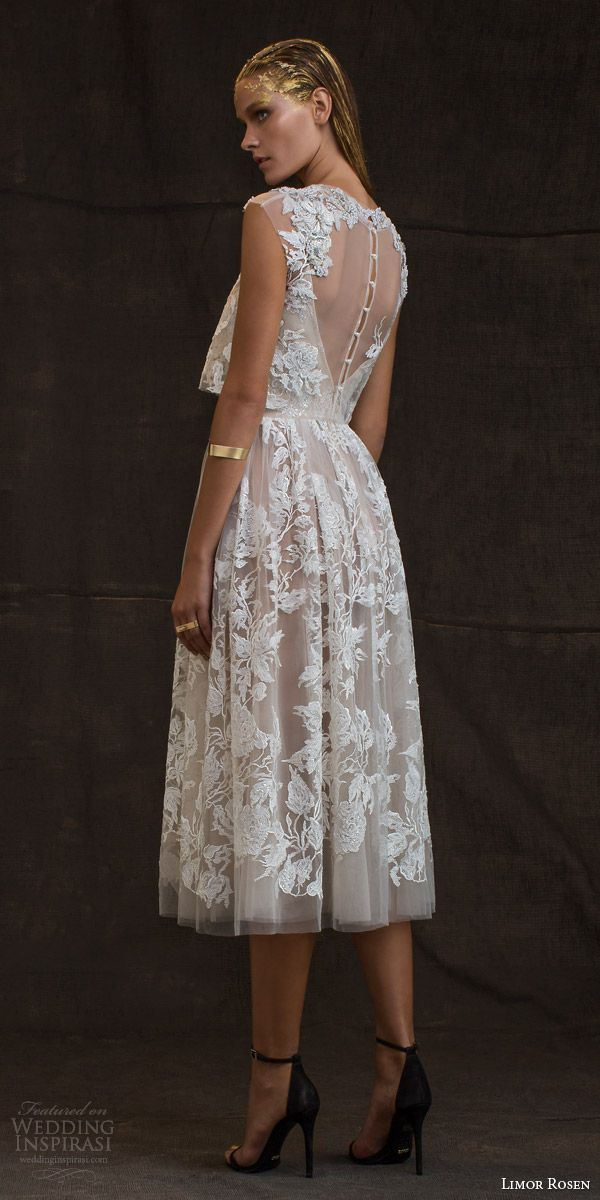 "Limor Rosen 2016 Wedding Dresses — ""Treasure"" Bridal Collection | Wedding Inspirasi | ""Grace"" -- Tea Length Beaded Lace Appliquéd Wedding Gown With Crop Top Cap Sleeves^^^^"